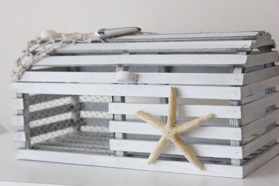 Small lobster trap centerpiece white wash program card holder - Trap decor ...