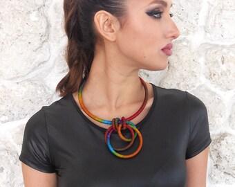 Interlock Textile Necklace Marigold II