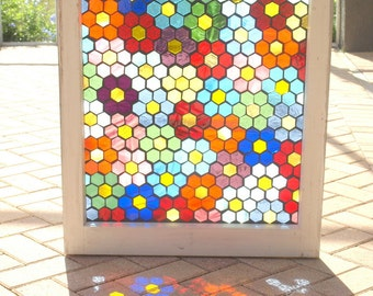 "Stained Glass Mosaic Repurposed Window ""Blooming Hexies"" Quilt Rainbow"