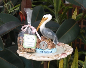 Repurposed Pelican Seashell Bird Feeder Florida vintage copper seed