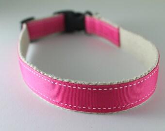 Hemp dog collar - Pink Saddlestitch