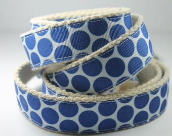 Blue Dots on White hemp dog leash