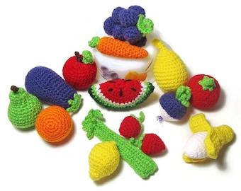 Crochet Play Food - Crochet Fruits - Crochet Vegetables - Crochet Veggies - Play Kitchen - 9 Pieces of Play Food - Plush Food - Soft Toy
