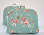 Garden Floral in Sky - Tiny Kiss lock Coin Purse/Jewelry holder