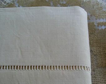 Unused Kingsize Vintage French 100% Pure Linen Large Ladder Sheet 231 x 309 cm