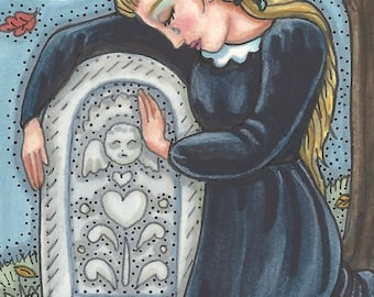 Goth Gothic Woman MOURNING Cemetery Funeral Grave Art ACEO sfa Susan Brack Ooak EBSQ
