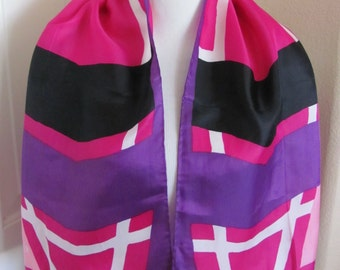 "Beautiful Pink Purple Jan Frimier Silk Scarf - 13"" x 44"" Long"
