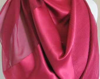 "SALE!! Beautiful Solid Red Sheer Silky Scarf Wrap Shawl - 22"" x 44"" Long"