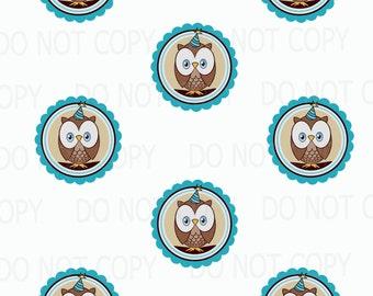 Printable DIY Owl First Birthday Theme Cupcake Toppers