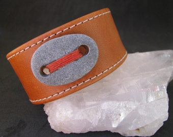 Butterscotch Leather Cuff with a Hand Stitched Drilled Stone.