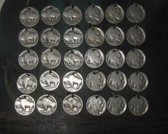 Wholesale Lot of 30 Authentic Buffalo Nickel Charm  Pendants