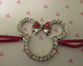Mouse Ears with Red Bow Bracelet