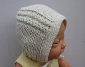 Princess Charlotte Bonnet Made to Order, Hand Knit Baby Girl Bonnet, Princess Bonnet, Wool Baby Bonnet, Baptism Bonnet