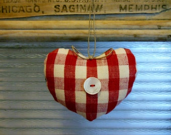 RED, WHITE and BLUE * Heart  Ornament * Little Pillow Heart * Linen * Denim * Country Cottage Heart * Americana
