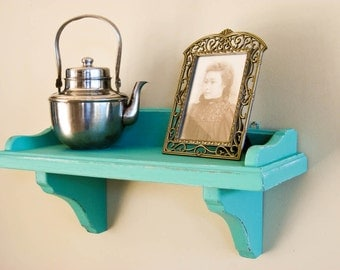 Wall Display Shelf Hand Painted and Distressed in Seafoam by OlliesFineThings
