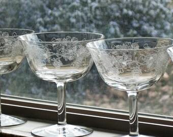Crystal Sherbets Needle Etched Short Stemmed Vintage 1940's Grape Pattern Set of Five