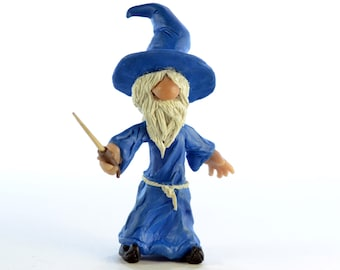 Cute Wizard - Original OOAK Polymer Clay Figurine - Cake Topper, Shelf or Desk Ornament or a Great Gift - Free US Shipping