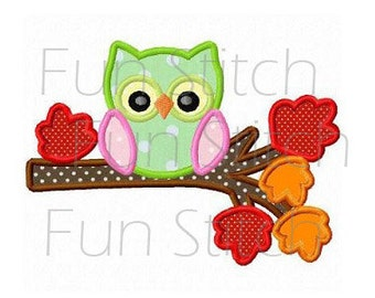 Cute owl on branch applique machine embroidery design