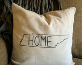 SALE 18 x 18 linen screen printed pillow cover Tennessee Home