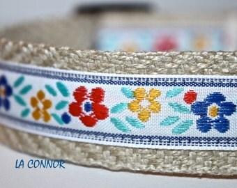 ON SALE - Floral Dog Collar, Adjustable Dog Collar, Girl Dog Collar, Sale Collar