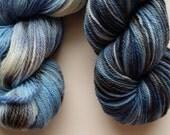 Denim hand dyed yarn 2 skeins at 230 yds each fingering weight 100% merino wool