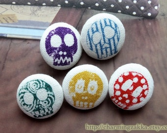 Fabric Covered Buttons (M) -  Fashion Skulls, Single Color Set, Choose Your Color (5Pcs, 0.75 Inch)