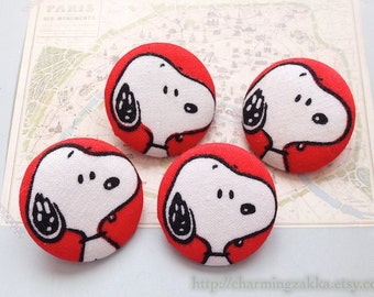Fabric Covered Buttons (L) - Cartoon Characters, Lovely Peanut Snoopy Dog On Red (4Pcs, 1.1 Inch)