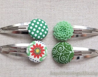 Hair Accessories, Handmade Hair Snap Clips - Mixed Fabric Buttons Resin Flowers, Green Colorway Set (4 in a set)
