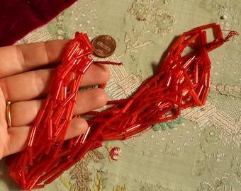 Antique glass bead trim hank clear warm red  Czech art deco millinery  hat cloche flapper dress trim jewelry making