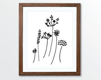 Wild Flowers Art Print - Minimalist Black and White Pen and Ink Modern Art - Simple Modern Art - Rustic Decor