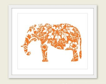 Elephant Art Print - Floral Elephant Wall Art - Modern Home Decor - Tangerine Orange - Jungle Animal Nursery Decor - 8x10