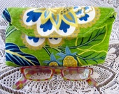Ruby 1510E  Eye Glass Case Decorators Fabric, Bright Floral, Up Cycled Fabric