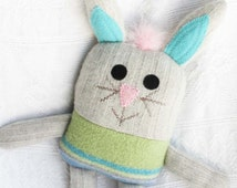 stuffed bunny, stuffed rabbit, baby shower gift, eco baby gift, miracle mittens, recycled sweaters, handmade bunny, eco friendly, etsy bunny