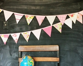 Pink Nursery Decoration / Baby Girl Nursery / Fabric Bunting Banner / Pennant Flag Garland / Girl Baby Shower / Garden Tea Party