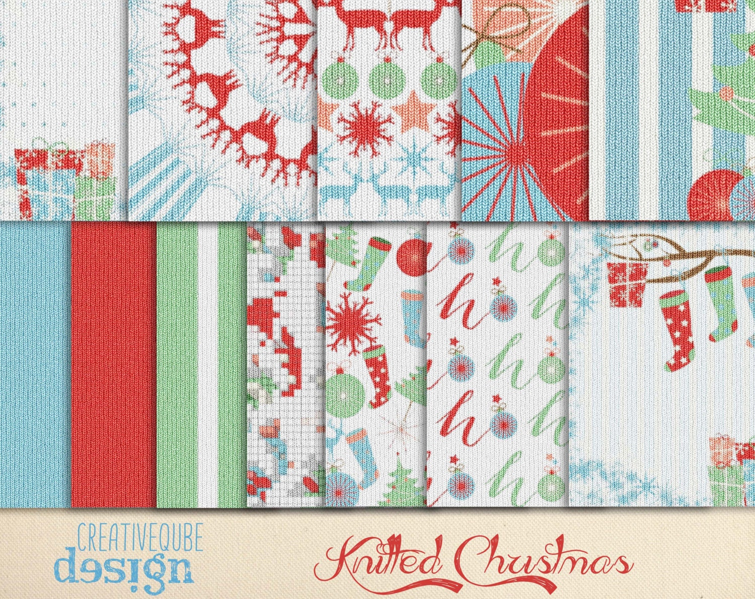 Digital paper knitted Christmas pattern Papers Digital