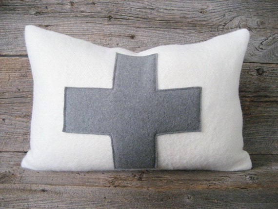 Items similar to Ivory Wool Blanket Lumbar Pillow Cover Grey Wool Swiss Cross Zipper on Etsy