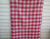 Vintage French Vichy Check Cotton Panel / Faded Reddish-Pink & White