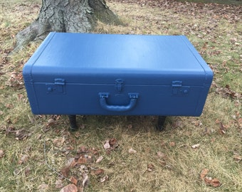 Vintage painted suitcase table