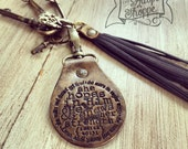 she hopes in Him and He renews her strength (Isaiah 40:31) leather key fob ring (black/bronze shimmer)
