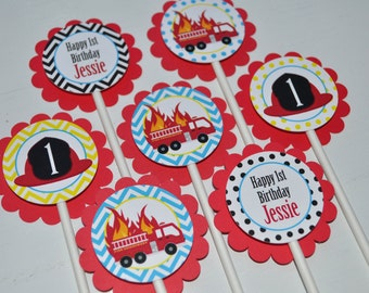 Fire Truck Birthday Cupcake Toppers - Firefighter Birthday Decorations - Boys Firetruck Theme Party - Set of 12