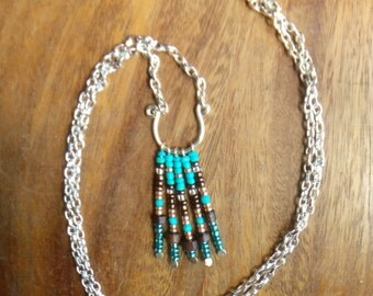 Turquoise and Bronze Seed Bead Dangle Necklace