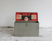 vintage metal storage box / industrial home, office decor