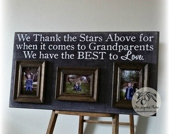 Grandparents Gifts, Mothers Day, Grandma Gift, Grandparents Picture Frame, Grandchildren, Lucky As I Can Be 16x30