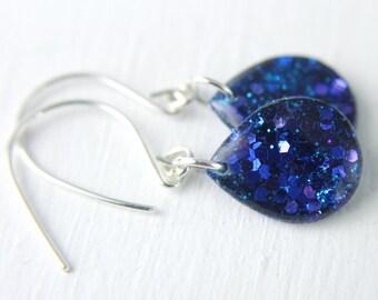 midnight blue teardrop glitter resin earrings on sterling silver, dark blue earrings, drop earrings, dangle earrings, teardrop