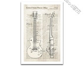 Gibson Les Paul Electric Guitar Patent Art Giclee on archival matte paper