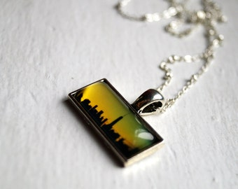 NYC Sunset One World Trade Center Photo Jewelry Necklace Pendant, New York City 1 WTC Statement Jewelry