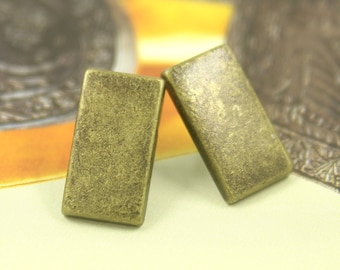 Metal Buttons - Rectangle Metal Buttons , Antique Brass Color , Shank , 0.75 inch , 10 pcs.
