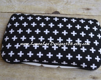 Black White Remix Crosses, Plus Signs, Travel Wipe Case, Diaper Wipes Case, Personalized Case, Baby Shower Gift, Baby Wipe Case, Wipe Holder