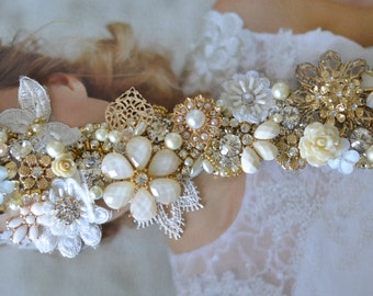 Gold bridal heirloom sash,Gold brooch sash Pearls and Rhinestones,Swarovski crystals Cluster Couture One of a Kind Bridal Gown