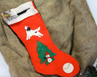 Vintage Christmas Stocking for the Hunter or Hunters Dog